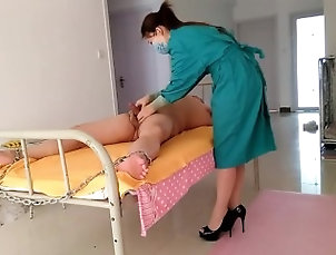 Asian latex gloves handjob