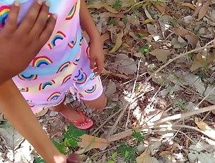 Sri Lankan campus girl having sex with boyfriend in high-risk outdoor jungle.