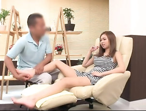 Japanese girl gets her panty wet while massaging her feet -2