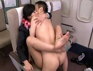Amazing Japanese stewardess loves getting fucked by passenge