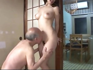 Ayumi getting her navel licked by an old man.