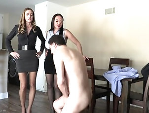 Sexy realtors ballbusting a customer